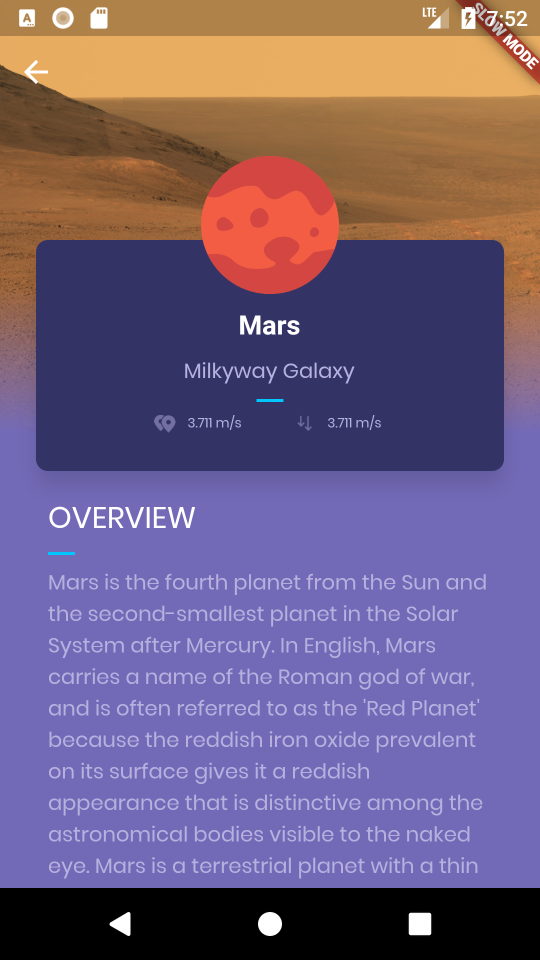 Planets-Flutter: planet detail page